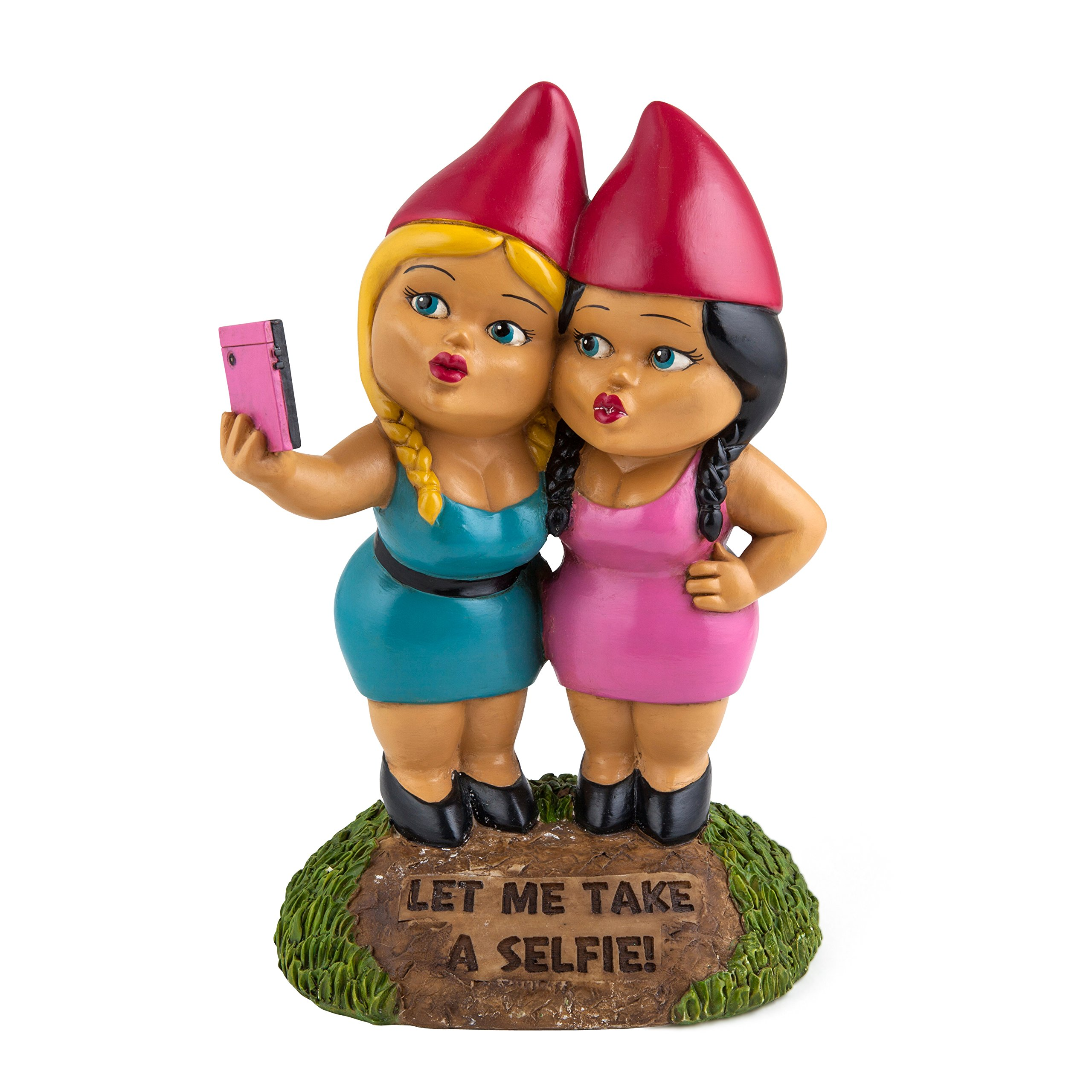 BigMouth Inc. The Selfie Sisters Garden Gnome, 9-inch Tall Funny Lawn Gnome Statue, Weatherproof Garden Decoration