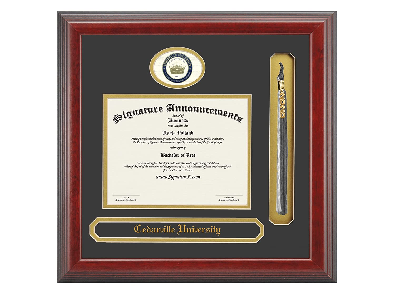 16 x 16 Cherry Signature Announcements Cedarville-University Sculpted Foil Seal Name /& Tassel Graduation Diploma Frame