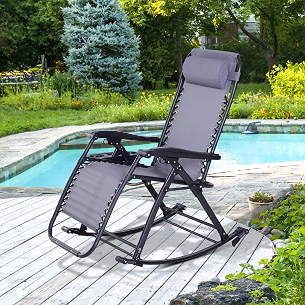 Outsunny Folding Zero Gravity Rocking Lounge Chair with Cup Holder Tray - Grey