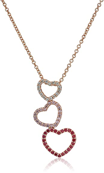Amazon rose gold plated sterling silver swarovski zirconia amazon rose gold plated sterling silver swarovski zirconia clear pink and red triple heart pendant necklace 16 2 extender jewelry aloadofball Images
