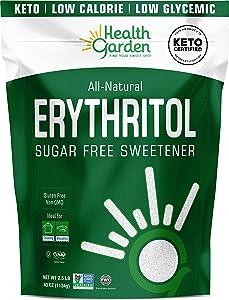 Health Garden Erythritol Sweetener - Non GMO - Gluten Free - Sugar Substitute - Keto Friendly - Tastes Like Sugar (2.5 lbs)