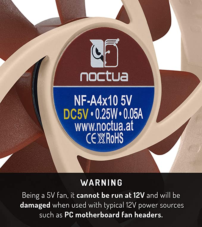 Noctua Premium Fan Brown Ideal Replacement For Noisy Or Broken 5V 4cm Fans