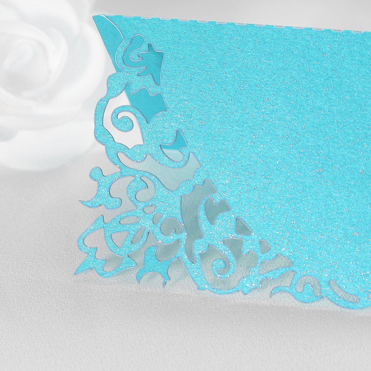 Toyvian Asiento Tarjeta en Forma de Flores Hueca para Decoraci/ón de Boda y Fiesta 50Pcs Azul