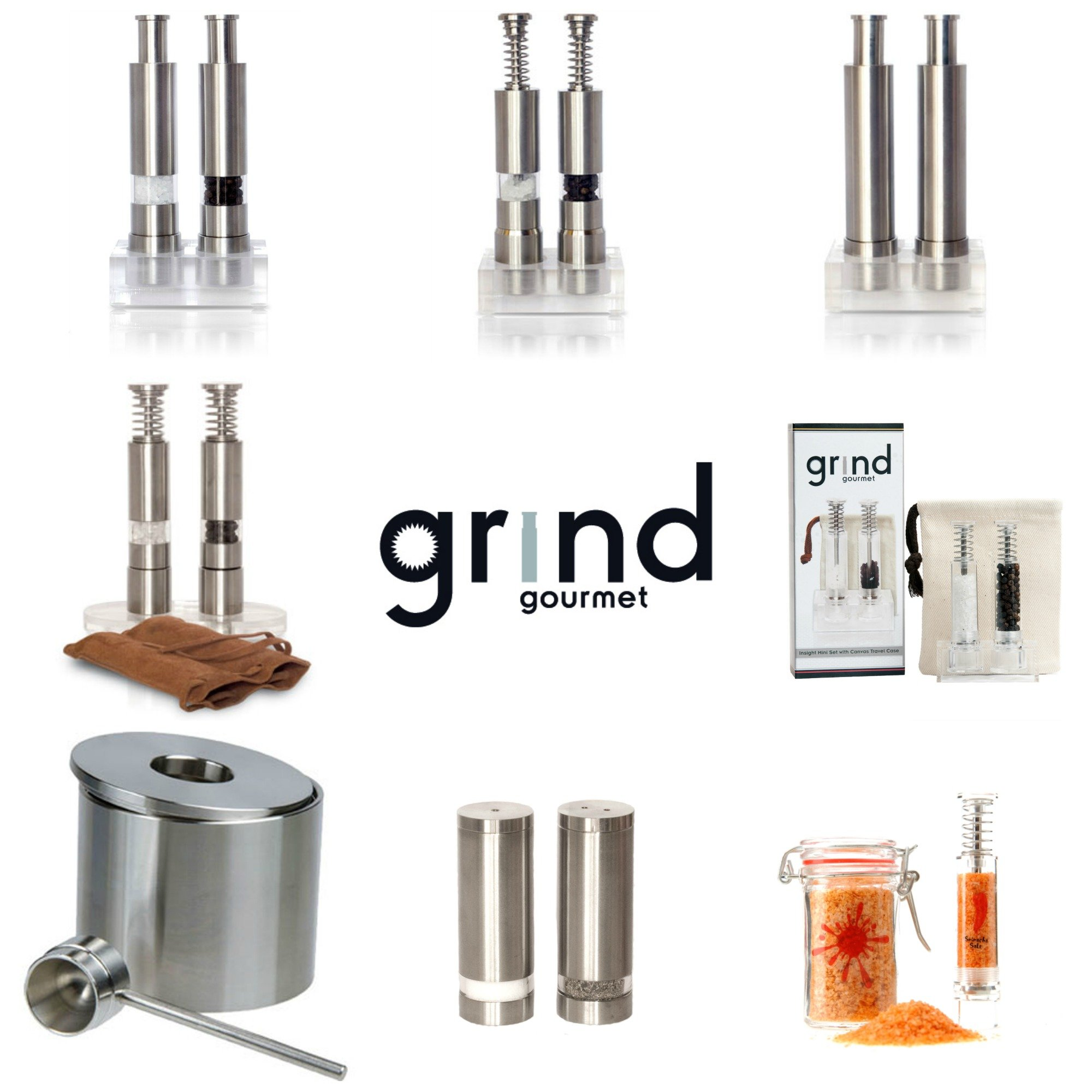 Modern Push Button Salt and Pepper Grinder Set, Grind Gourmet Pump and Grind Sea Salt and Pepper Mill Set with Stand, Refillable Grinder by Grind Gourmet