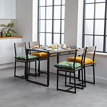 Cool Vonhaus Rustic Dining Set Modern Industrial Design 4 Seater Wooden Effect Dinner Table 4 Chairs 5 Piece Dining Room Furniture Caraccident5 Cool Chair Designs And Ideas Caraccident5Info