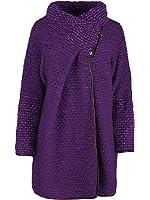 Ladies Womens Italian Lagenlook Quirky Popcorn Loop Back Wool Zip Funnel Long Sleeve Cocoon Coat Cardigan Jacket Poncho Cape Coatigan Curve One Size Plus UK 14-20