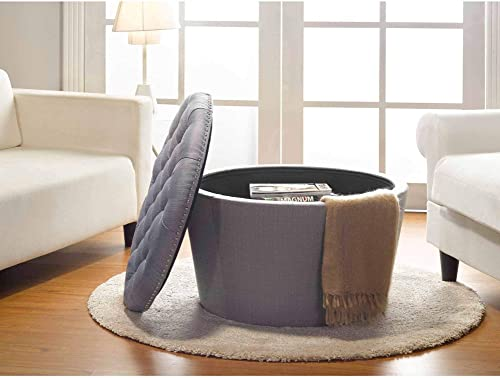 Stylish and Functional Better Homes and Gardens Round Tufted Storage Ottoman with Nailheads, Multiple Finishes Grey, 1