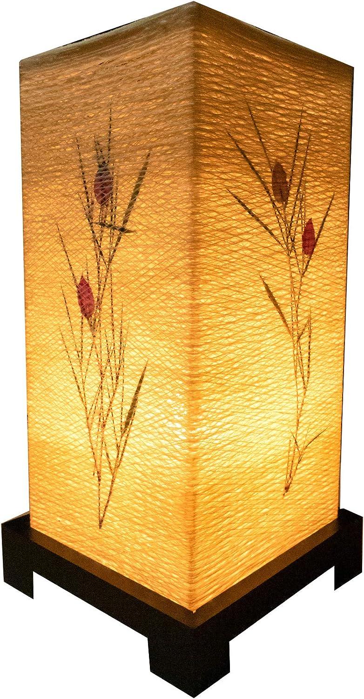 Import Nomad - Handmade Dimmable Japanese Flower Table Lamp [Work Study Decor up Light] Wood Base Cotton Shade Includes led Lightbulb