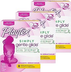 Playtex Gentle Glide Tampons, Fresh Scent Regular Absorbency, 20 Count (Pack of 3)