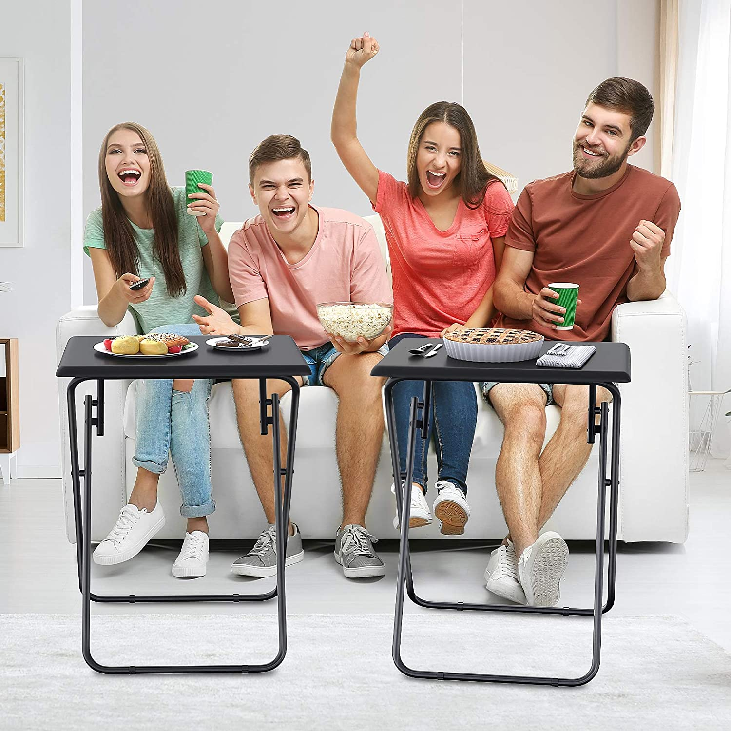 Snack Coffee End Table Ideal For Living Room Bedroom Fully Assembled Tv Table For Eating At Couch Stable Dinner Table Easy To Storage Ameriergo Folding Tv Tray Table Furniture Home