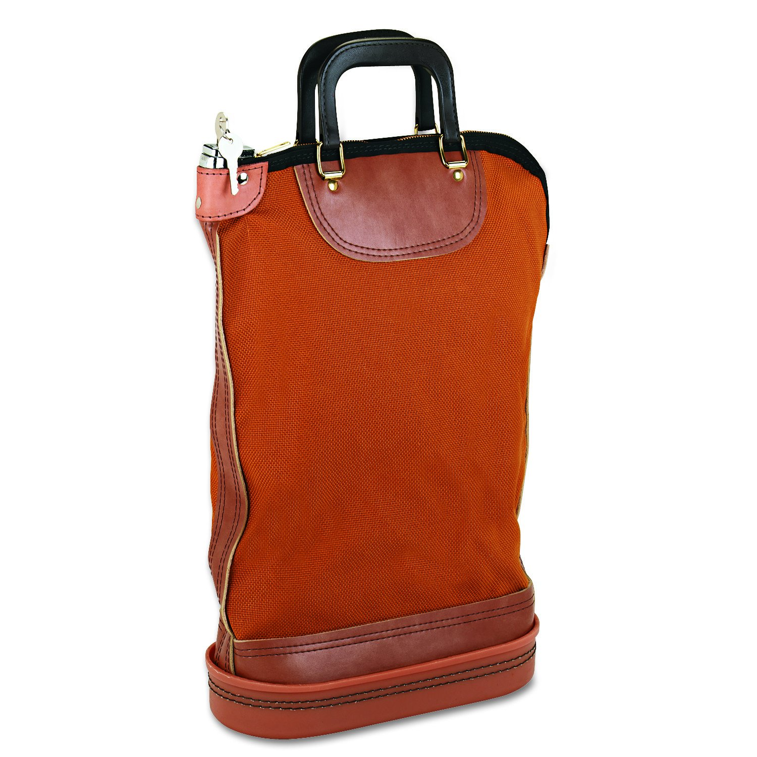 PM Company Regulation Post Office Security Mail Bag, Zipper Lock, Gold, Brown (04644)