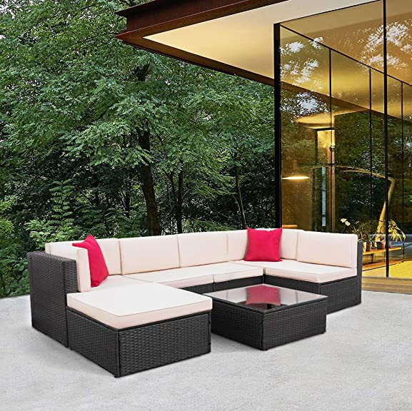 Tuoze 7 Pieces Patio Furniture Sectional Set Outdoor All-Weather PE Rattan Wicker Lawn Conversation Sets Cushioned Garden Sofa Set with Glass Coffee Table Brown