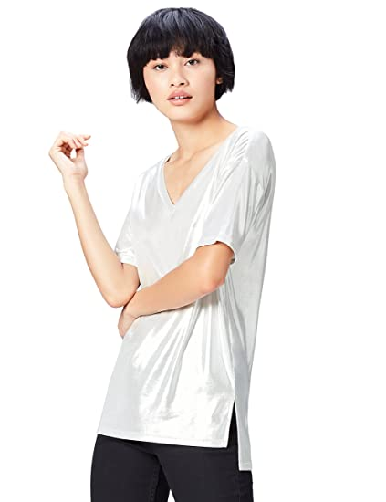 FIND Women's T-Shirt in Metallic Long Line With V-Neck: Amazon.co.uk:  Clothing