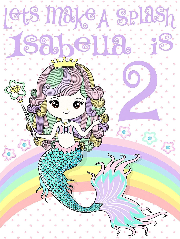 Personalized Mermaid Birthday T Shirt Girls Kids Youth Tee Custom Name Age Cute Magic Gift Ideas