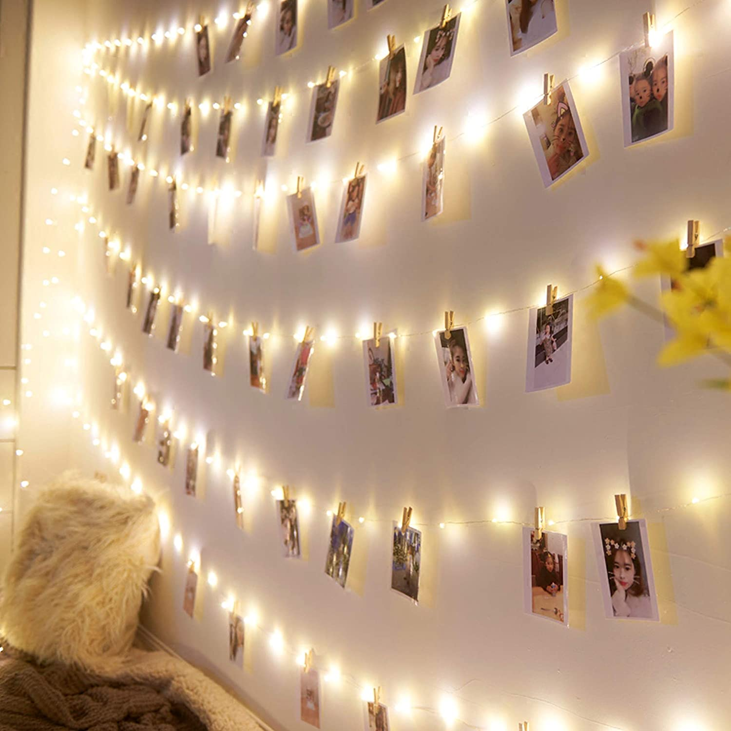 8 Modes Battery Powered Warm White Decor Lights for Bedroom Christmas Wedding Party Decorman Photo Clips String Light 33FT 100LED Waterproof Fairy String Lights with 100 Wooden Clips