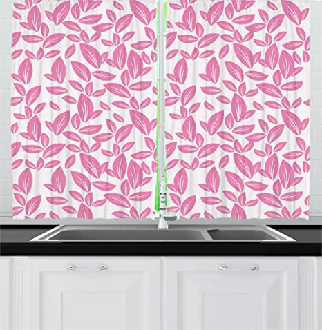 Amazon ambesonne floral kitchen curtains big pink flower ambesonne floral kitchen curtains big pink flower leaves on white background rose petals spring nature mightylinksfo