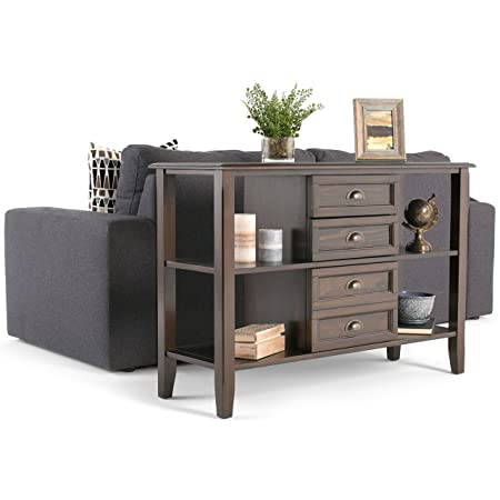 Simpli Home 3AXCBUR-003 Burlington Solid Wood 44 inch wide Traditional Console Sofa Table in Espresso Brown