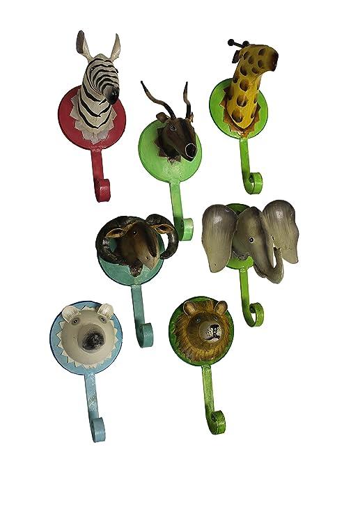 Conjunto de 7 perchero pared trofeo de animales artesanía ...