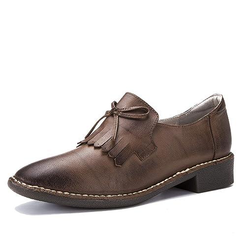 Mocasines de tacón bajo de Mujer Autumn Square Planos de Moda Vintage Gradient Simple Loafer Zapatos de Proa de Cuero Genuino: Amazon.es: Zapatos y ...