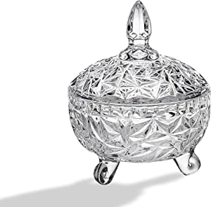 Round Footed Crystal Candy Nut Trinket Box Container Holder With Lid