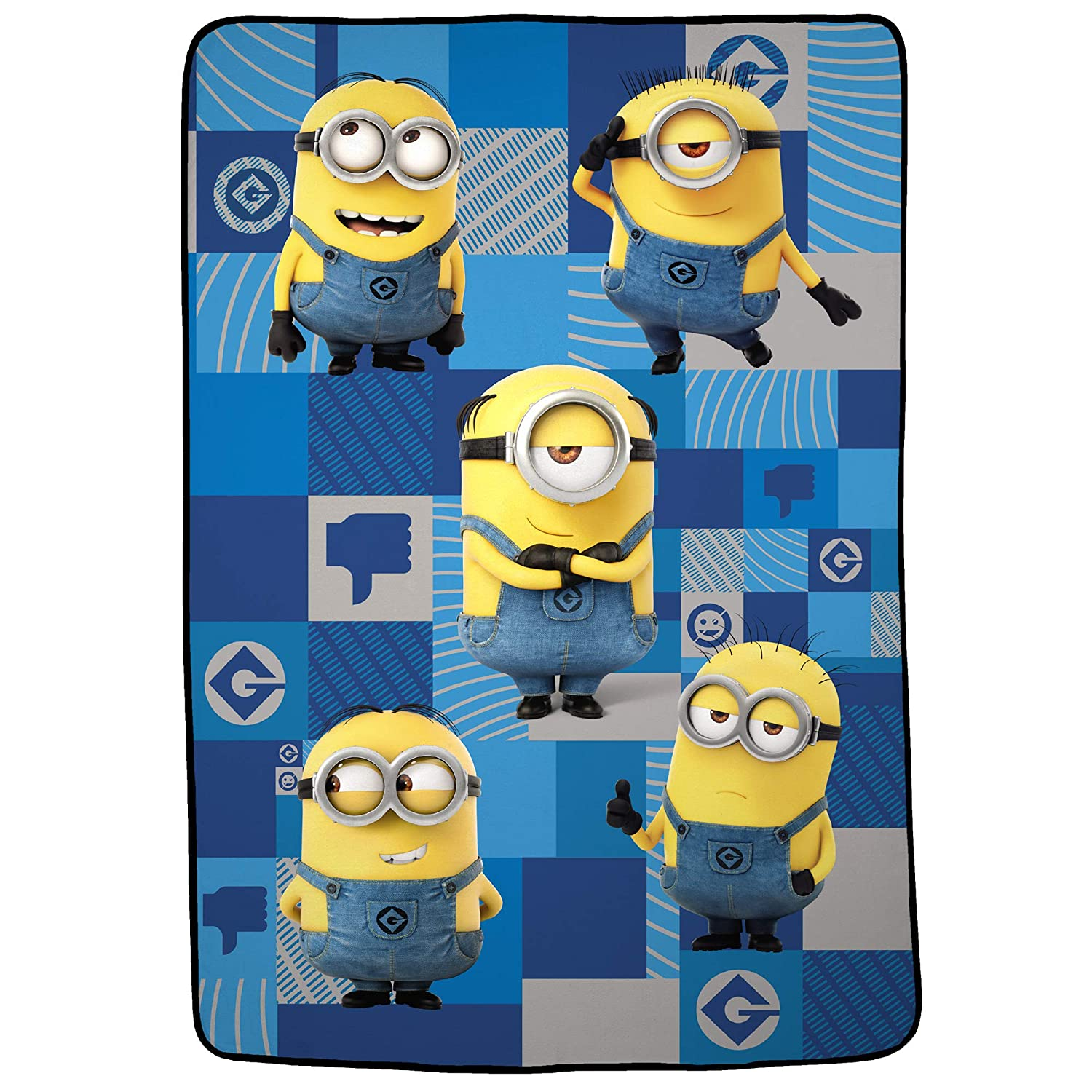 """Franco Kids Bedding Ultra Soft Plush Blanket, Twin/Full Size 62"""" x 90"""", Minions Despicable Me"""