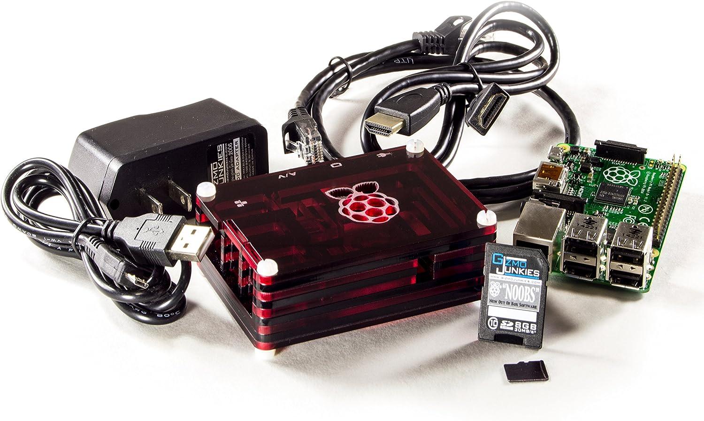 GizmoJunkies Badfish Bundle with Raspberry Pi 2 Model B Starter Kit Stash Box Case//Enclosure Slice Transparent Red Ember
