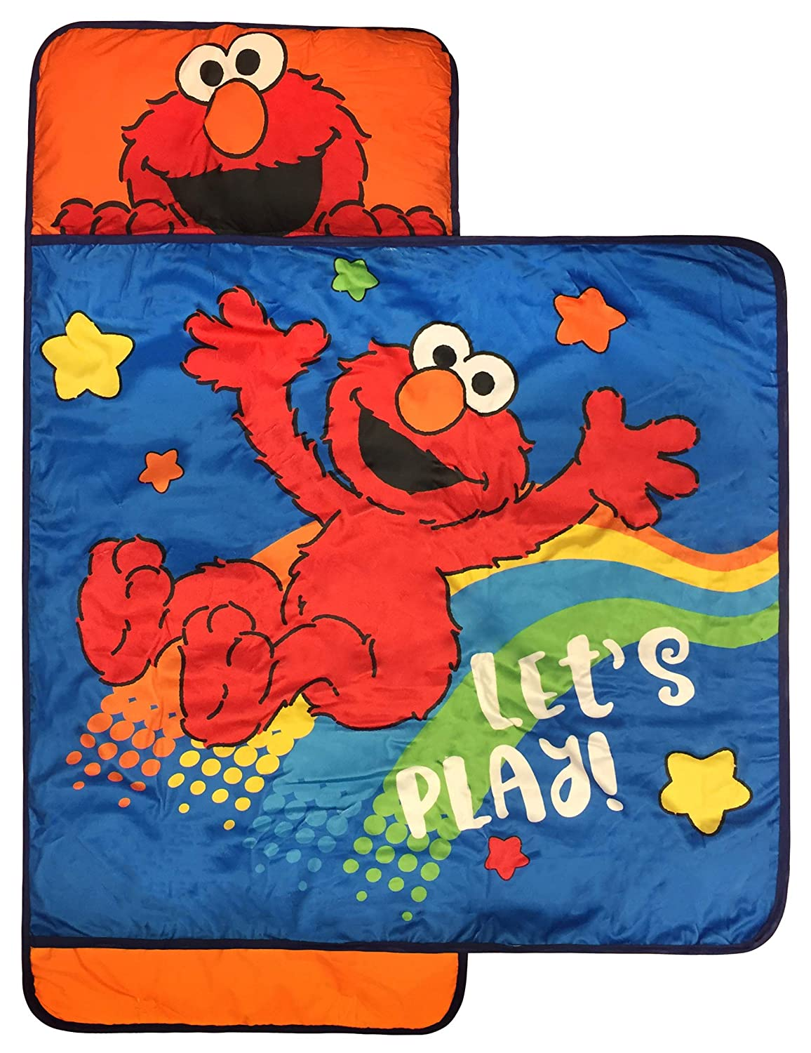 Sesame street lets play nap mat built in pillow and blanket featuring elmo super soft microfiber kids toddler childrens bedding ages 3 7 official