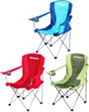 KingCamp Folding Steel Frame Camping Chair Padded with Armrest & Mesh Cup Holder Lightweight Portable & Stable for Camping, Picnics, Beach, Fishing & Backpacking Red, Blue & Green