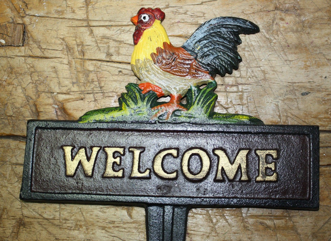 Cast Iron ROOSTER WELCOME Sign Garden Stake Home Decor CHICKEN Plaque HEN Farm by OutletBestSelling by New (Image #1)
