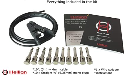 Kit de cables de conexión Hellion para bajo y guitarra, sin soldadura