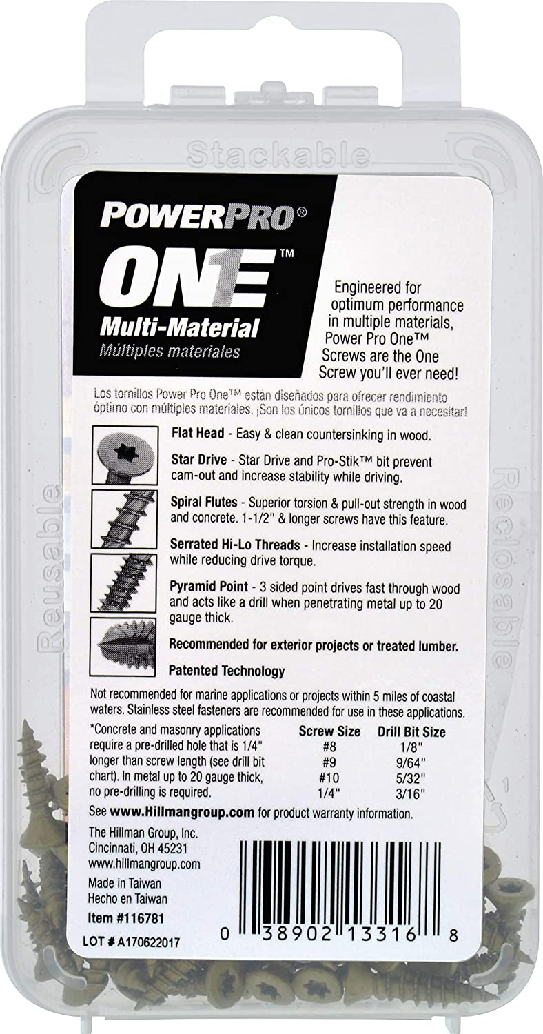 50 Piece Power Pro 116781 Multi-Material Screws Bronze