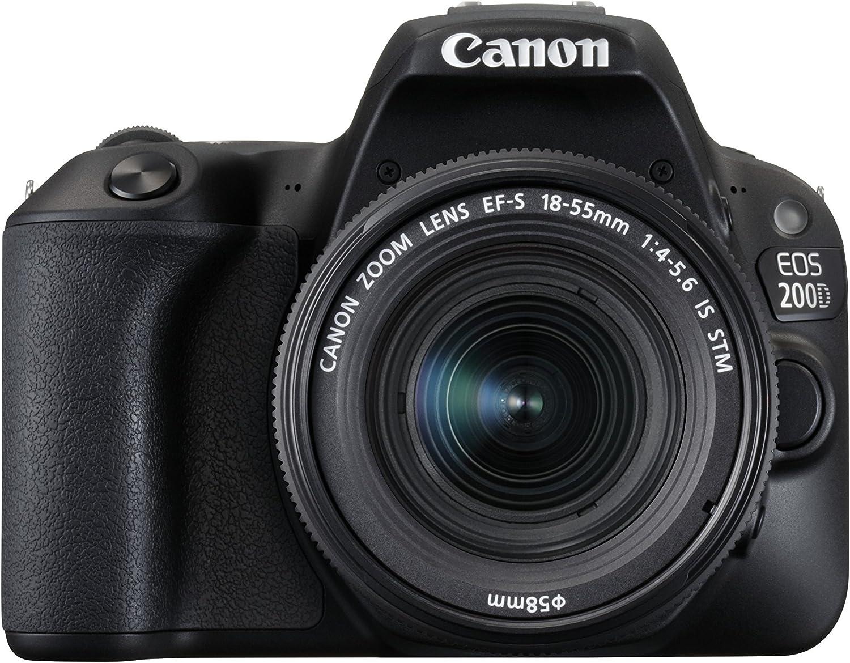 Amazon Com Canon Eos 200d Rebel Sl2 Kit With Ef S 18 55mm F 4 5 6 Is Stm Lens Digital Slr Cameras Black International Version No Warranty Camera Photo