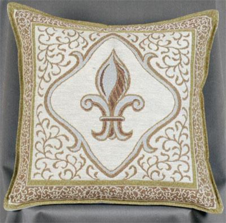 Amazoncom Fleur De Lis Ivory Decorative Tapestry Throw Pillow