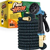 Flexi Hose with 8 Function Nozzle, Lightweight Expandable Garden Hose, No-Kink Flexibility, 3/4 Inch Solid Brass Fittings and