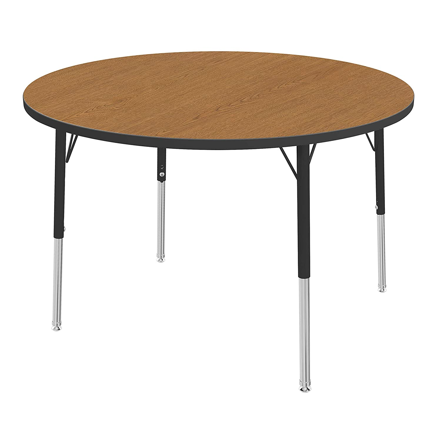 16-24 Fusion Maple -Top Marco Group MGA2245-50-ABLK 42 Round Shaped Adjustable Height Classroom Activity Table Toddler Size Black-Leg Black-Edge