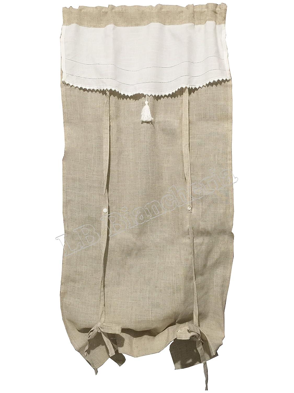 Coppia tendine Tende Marsiglia - Country Shabby chic Provenzale - tessuto in Lino e cotone con laccetti - Cm 60x240 Lbbiancheria