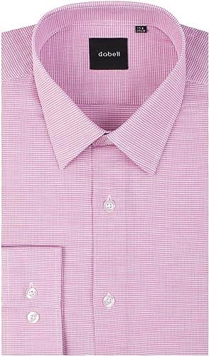 Dobell Camisa Rosa Oscuro con Estampado de Pata de Gallo 100% algodón