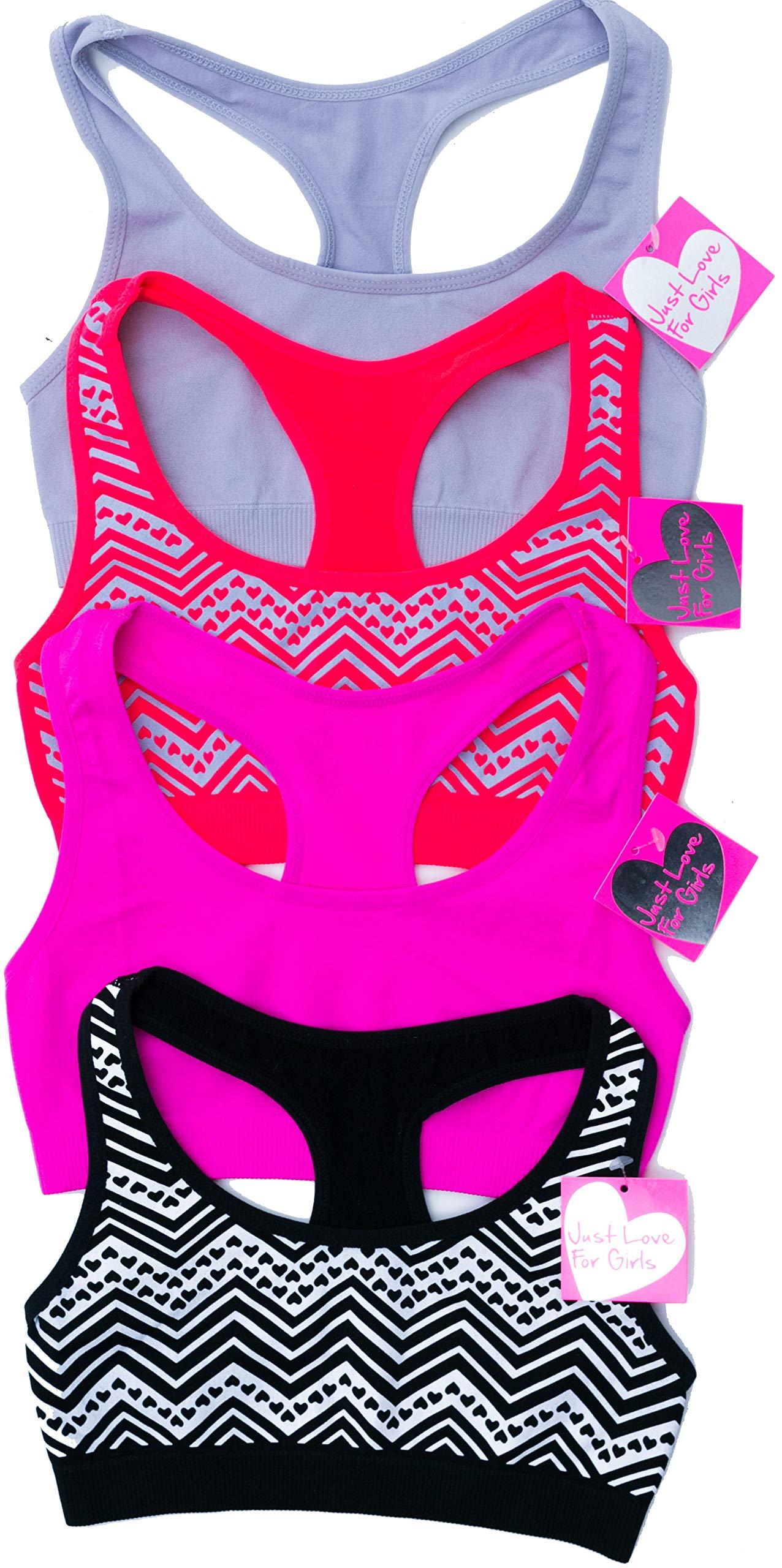 Just Love GB-4P-37002-XL Girls Bras/Seamless Crop Sports Bra for Girls (Pack of 4)