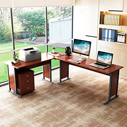 87u201d Large Tribesigns Reversible Modern L Shaped Desk With Cabinet, Double  Corner Computer