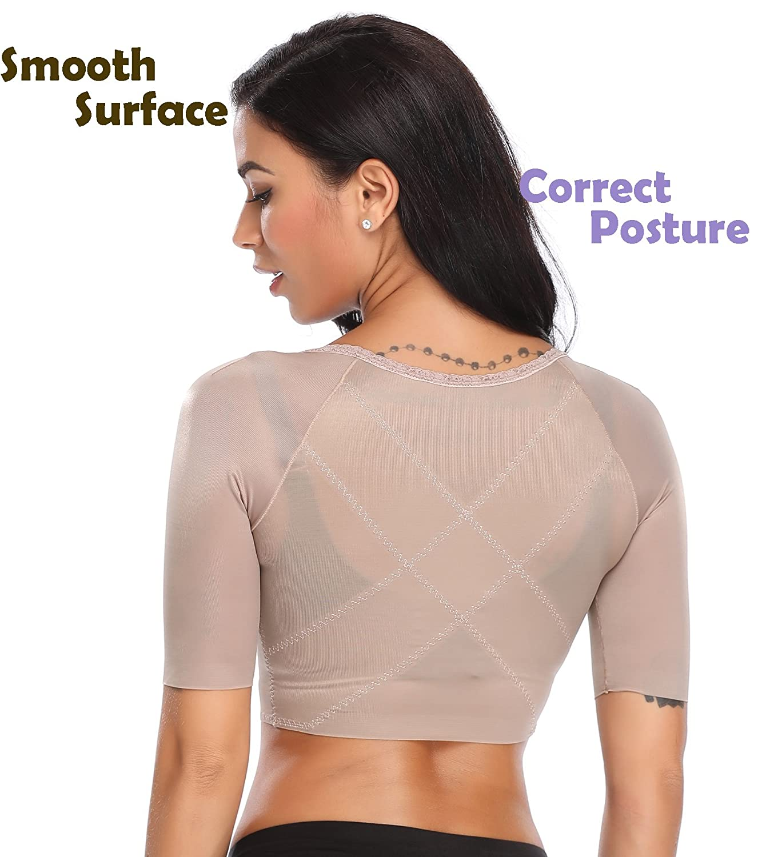 3b3df802653 Amazon.com  Women s Seamless Arm Shaper Slim Upper Sleeves Top Body Shaper  Compression Vest Posture Corrector  Clothing