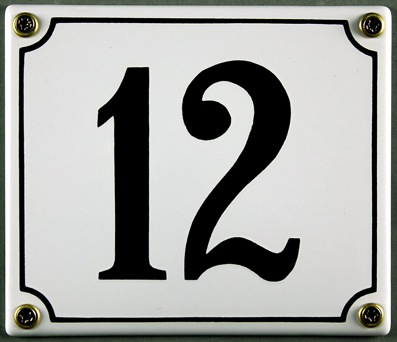 sofort lieferbar 12x14cm Emaille Hausnummernschild wei/ß//schwarz 12x12 cm Zahlen 1 bis 30 verf/ügbar Hausnummer Schild wetterfest und lichtecht 13 wei/ß//schwarz 12x14cm W/ählen Sie Ihre Nummer