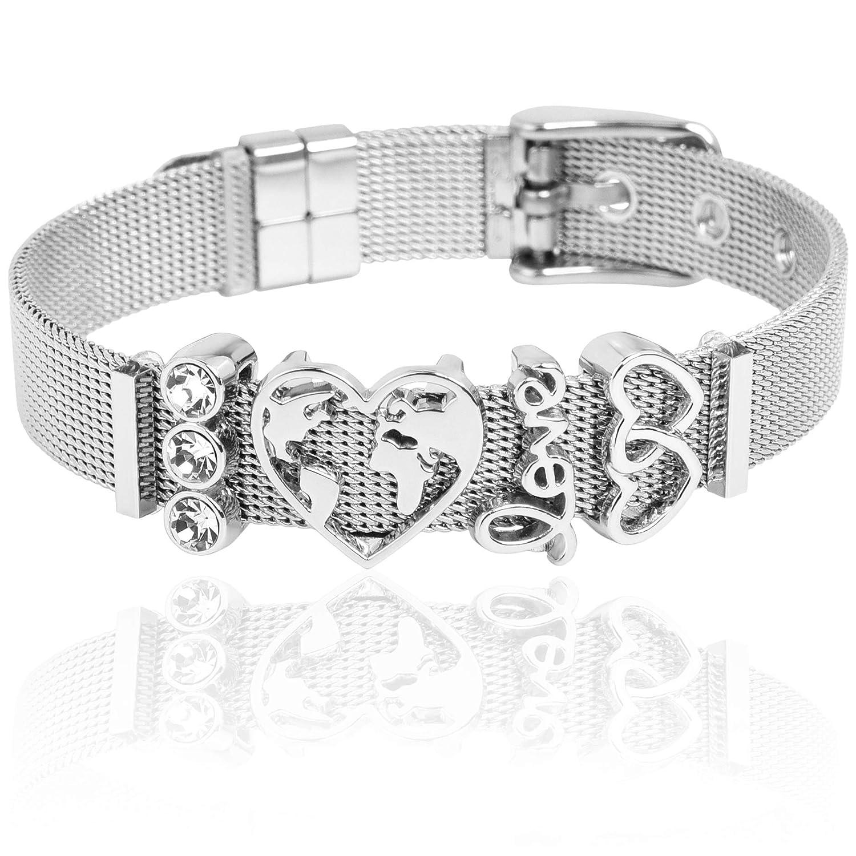 LUXERY Charms Anh/änger Individuelle Charm austauschbar f/ür Edelstahl Armband Damen Schmuck selber gestalten Mesh Silber Schmuck Frauen