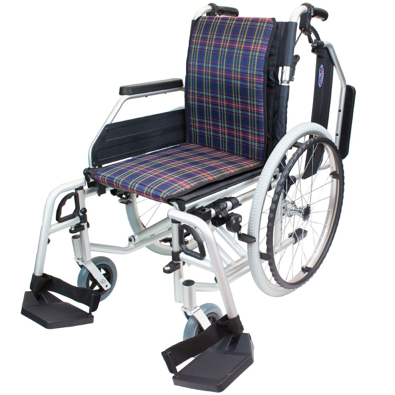 ケアテックジャパン 自走式アルミ製車椅子 CAH-52SU コンフォートプレミアム (ネイビーチェック) B01N7TS3YG  ネイビーチェック