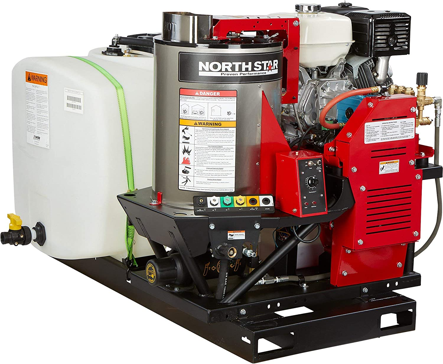 Northstar Hot Water Pressure Washer Skid with Wet Steam - 3000 PSI, 4.0 GPM 100-Gal. Water Tank, Model# 157116
