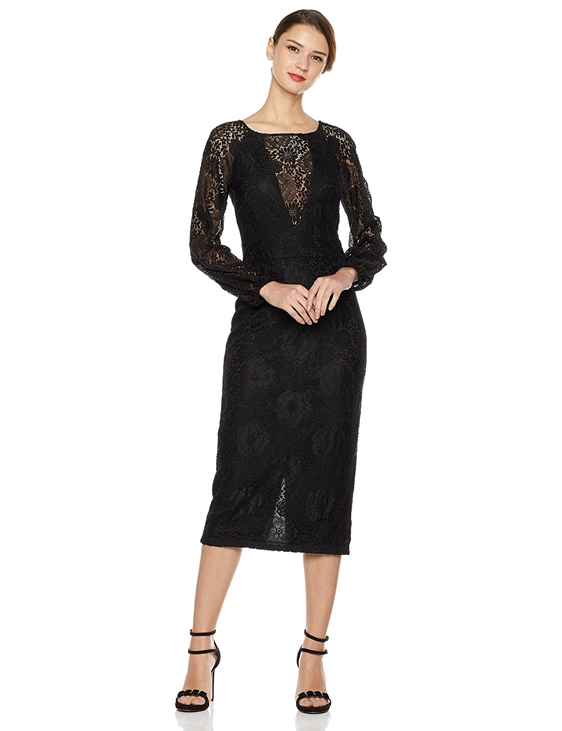 1888acac An Amazon brand. Calf-length sheath dress featuring floral lace overlay  with sheer illusion V-neckline and puffed long sleeves. Back zipper, fully  lined