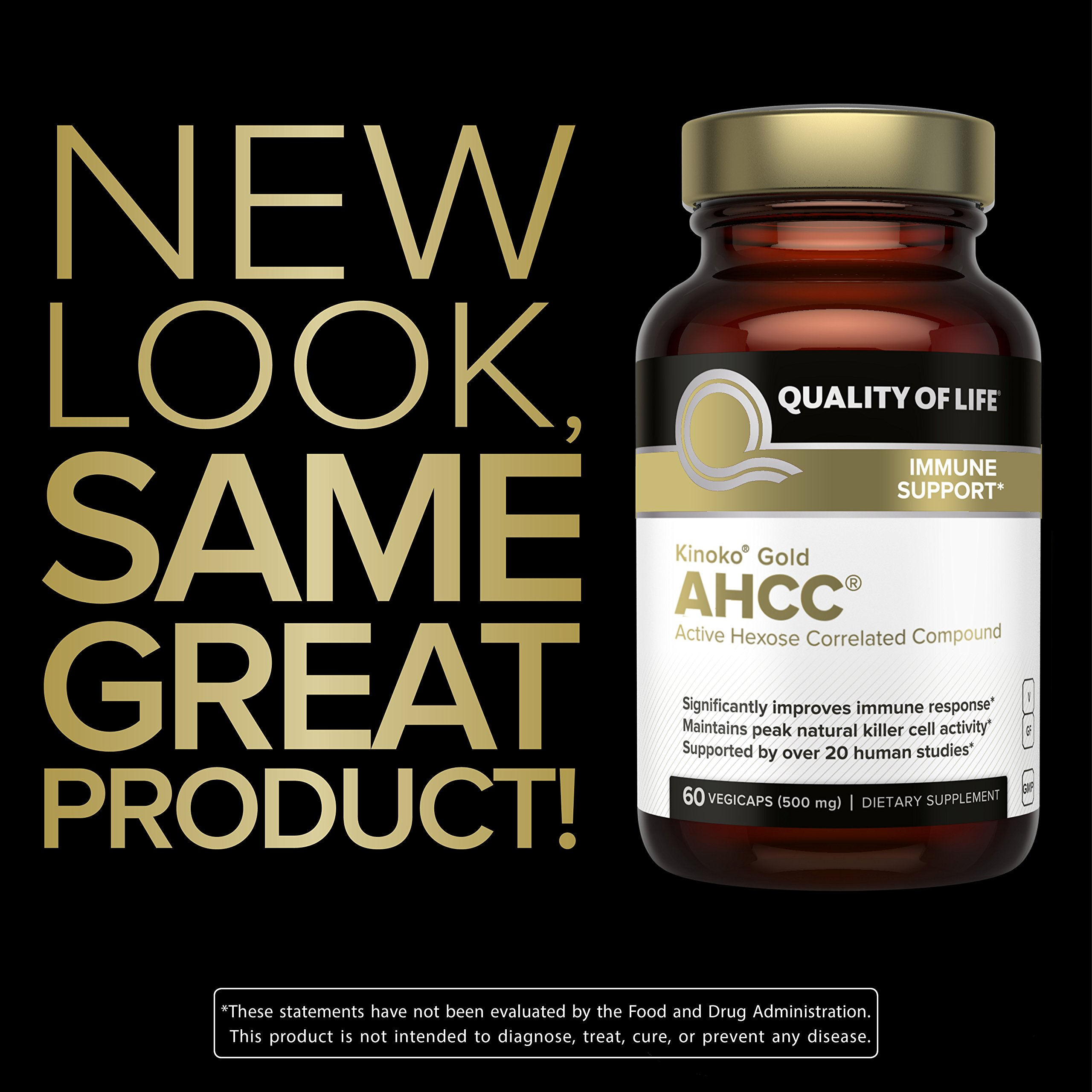 Premium Kinoko Gold AHCC Supplement-500mg of AHCC per Capsule-Supports Immune Health, Liver Function, Maintains Natural Killer Cell Activity & Enhances Cytokine Production-60 Veggie Capsules by Quality of Life (Image #5)