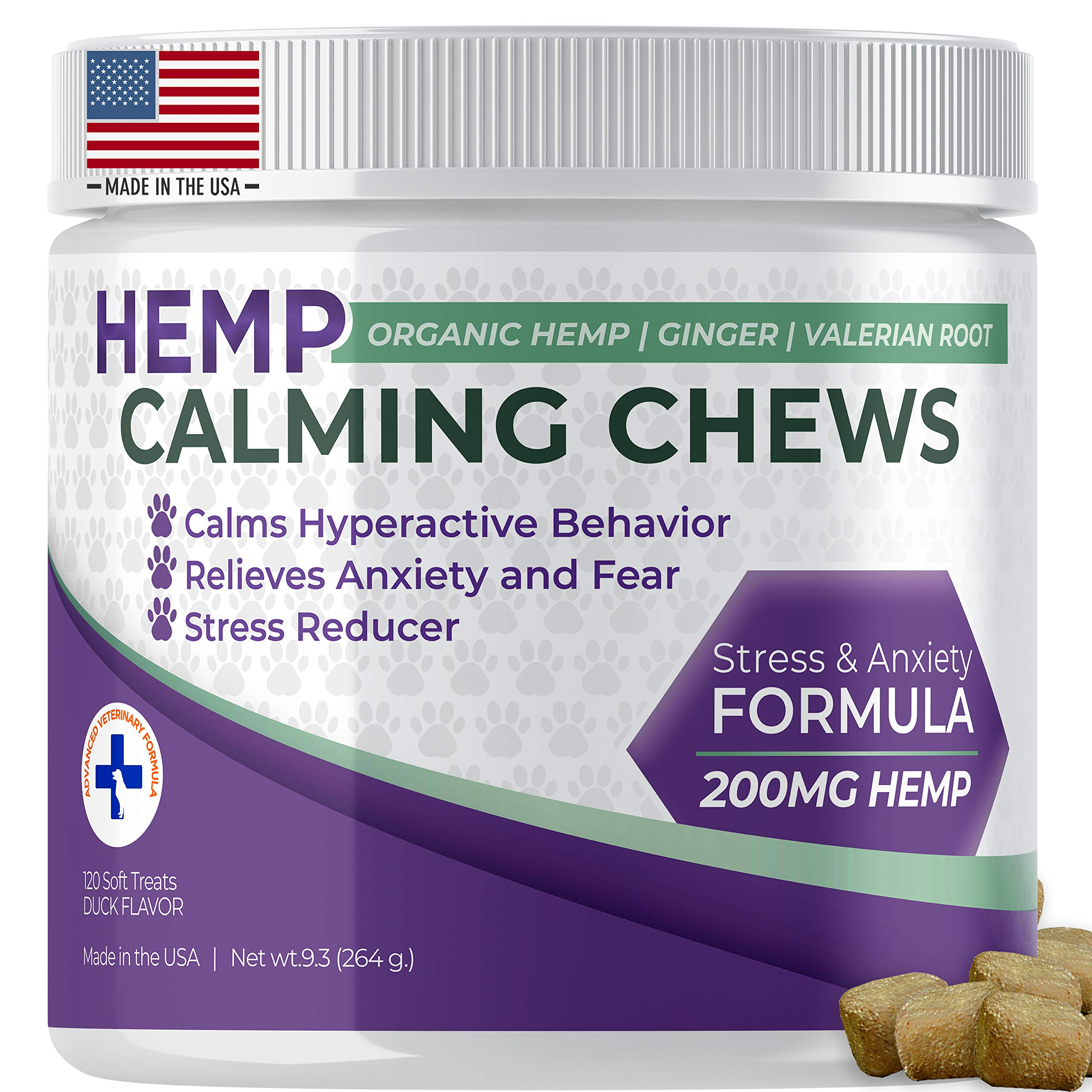 Dog Calming Treats with Hemp Oil Organic Natural Dog Treats Made In The USA Formulated For Composure & Dog Anxiety Relief From Stress Fireworks Thunder Separation - With Ginger & Omega 3 -120 Chews by Bluecare Labs