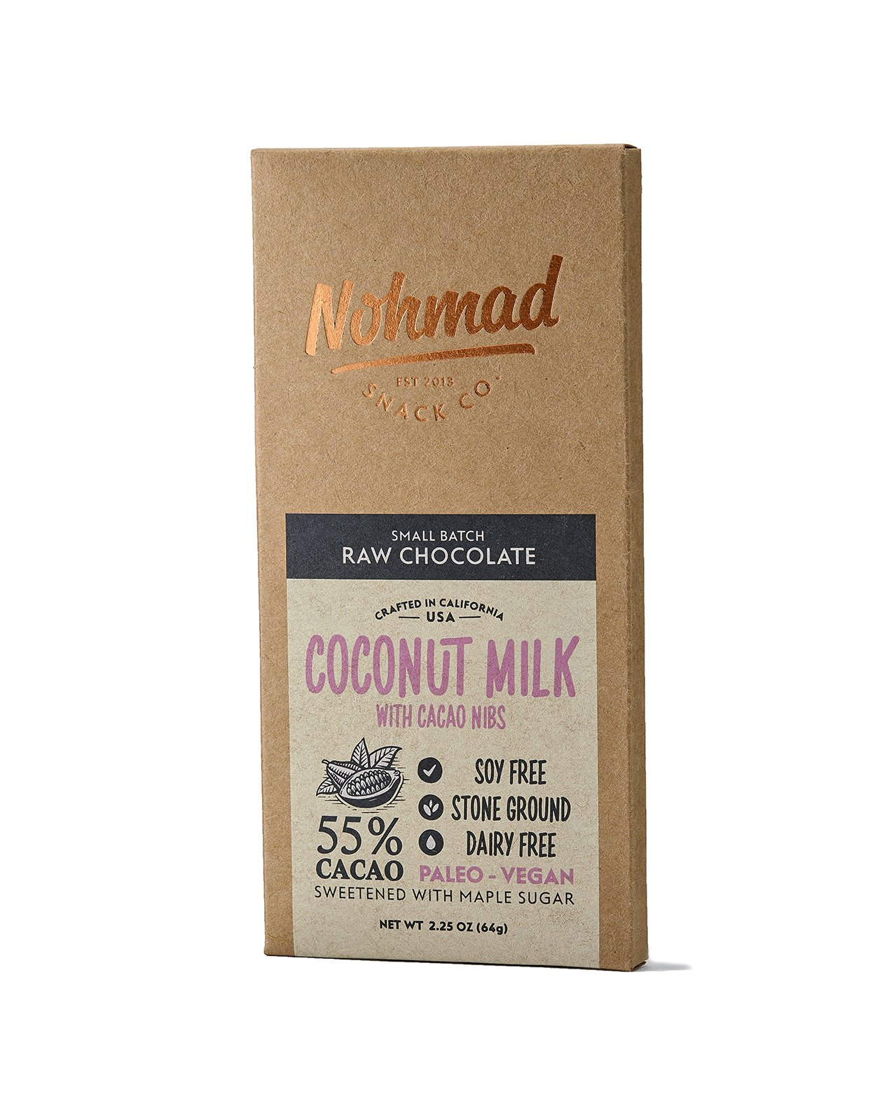 Nohmad Snack Co - Raw Chocolate - Coconut Milk w/Cacao Nibs - 55% Cacao - Vegan Friendly (2 pack)
