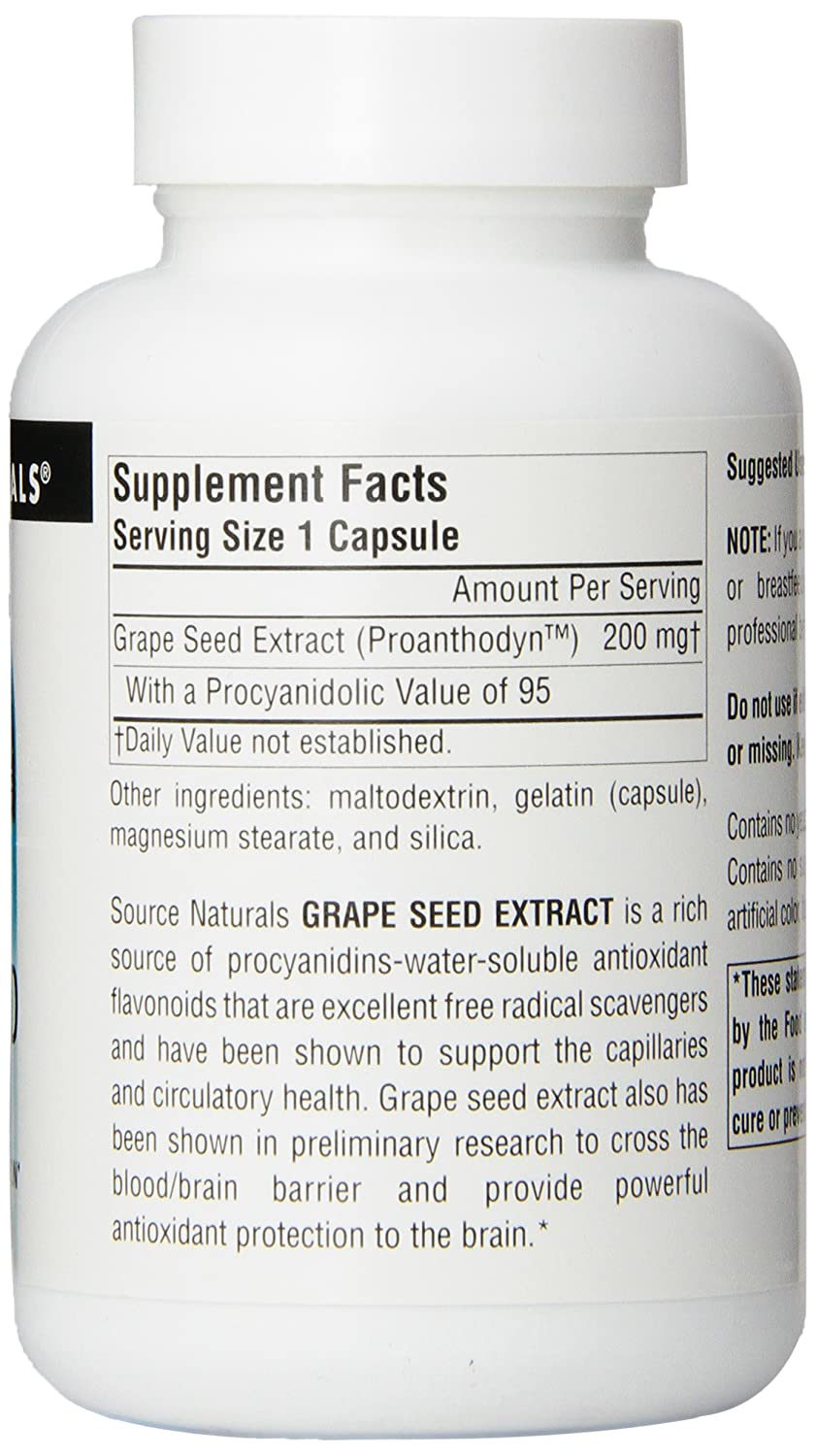 Source Naturals Grape Seed Extract, Proanthodyn 200 mg Antioxidant Protection Supports Healthy Aging Brain – 90 Capsules
