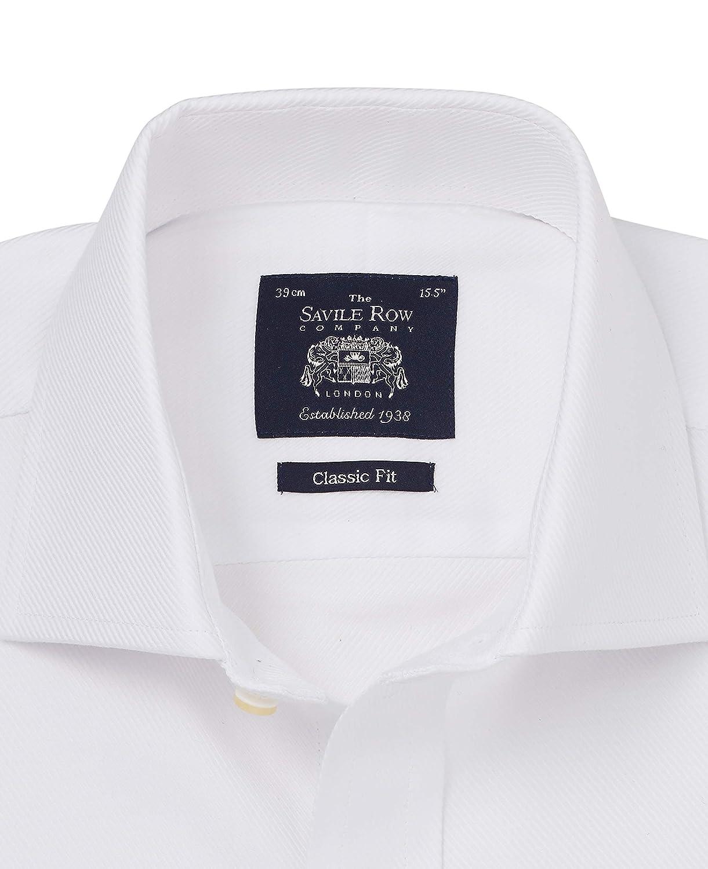 French Cuff Cuff 17 Standard Savile Row Mens White Twill Classic Fit Cutaway Collar Shirt
